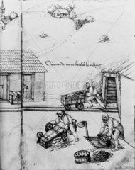 Hand-pushed mining carts  France  c 1532-15