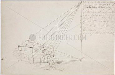 Diagram of buildings with angle measurements and notes  1828-1831.