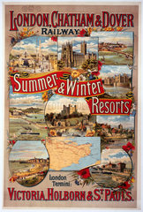 'Summer & Winter Resorts'  LC&DR poster  1897.