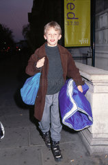 A child arriving at Science Night  17 November 2000.