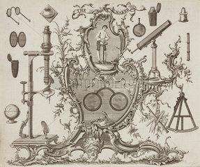 Trade card of James Ayscough  optician  c 1750.