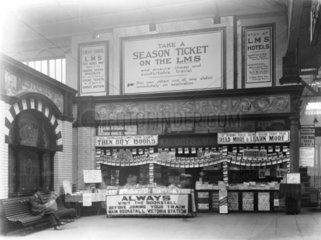 WH Smith bookstall at Manchester Victoria Station  1925.