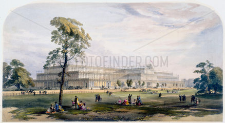 General view of the exterior of Crystal Palace  London  1851.