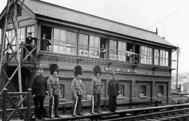 Guardsmen and policemen on sentry duty at C