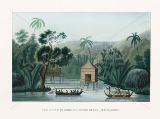A pagoda at the haven of Offak  island of 'Waigiou'  Indonesia  1822-1825.