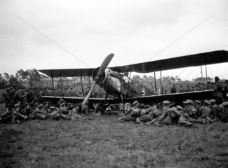 Troops surrounding a Bristol F2B Fighter  c
