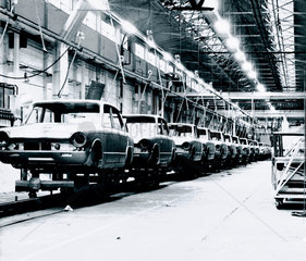 Line of Triumph Dolomites awaiting construction  Merseyside  1965.