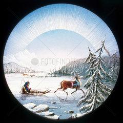 Lapland scene  hand-coloured magic lantern slide  19th century.