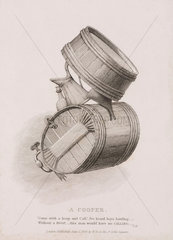 'A Cooper'  a figure made from barrels and jugs  1829.