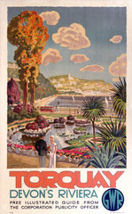 'Torquay  Devon's Riviera'  GWR poster  1930s.