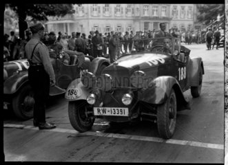 A Mercedes Benz motor car at the start of a race  Germany  c 1934.