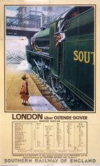 'London via Ostende/Dover'  German SR poster  1937.