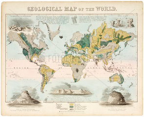 'Geological map of the world'  c 1850.
