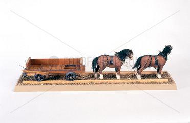 Railway and quarry truck  c 1730. Model (sc