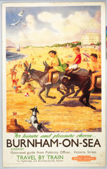 'Burnham-on-Sea'  BR (WR) poster  c 1950s.