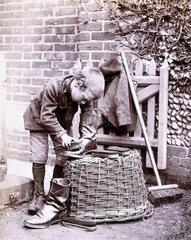 'Boy polishing boots'  c 1885. Silver gelat