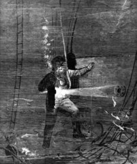 Diving for the wreck of the 'Eurydice'  1878.