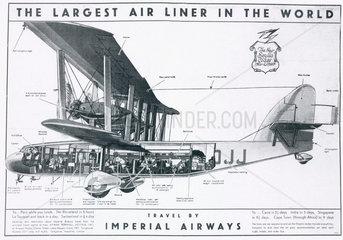 Imperial Airways poster advertising the Short 'Scylla' airliner  1934.