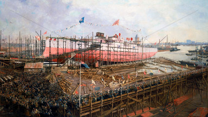 Launch of the 'Fuji' at Blackwall  London  31 March 1896.