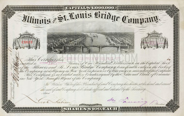 Share certificate of the Illinois & St Louis Bridge Company  1881.