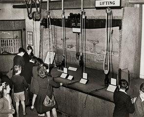 Pulley blocks in the Children's Gallery of the Science Museum  London  1949.