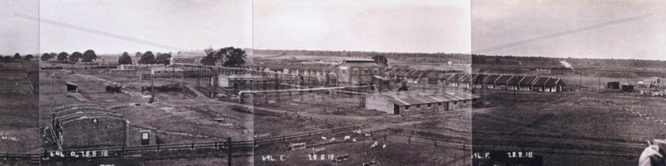 Bird's eye view of Gretna munitions factory  Scotland  1918.