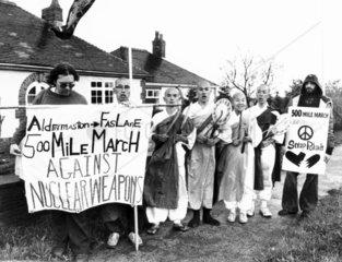 Aldermaston-Faslane 500-mile march against nuclear weapons  c 1980s.
