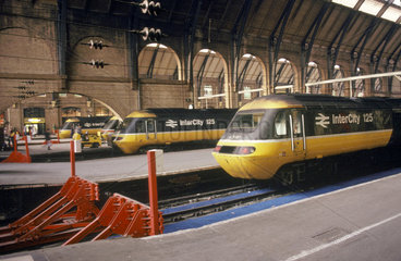 BR Inter-City 125 diesel locomotives at King's Cross  London  c 1980s.