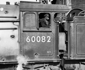 Afro-Caribbean fireman on the 'Neil Gow' steam locomotive  17 May 1962.