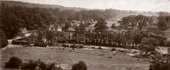 View looking east from Welwyn viaduct  Hertfordshire  c 1900.