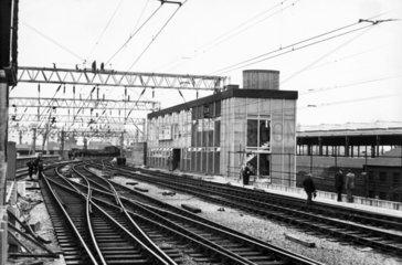 Signal box at London Road Station  Manchester  1960.