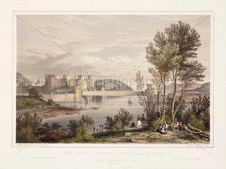 'Conway tubular bridge and castle'  19th century.