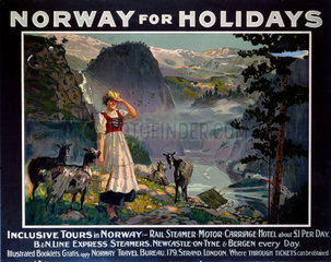 'Norway for Holidays'  B&N Line poster  c 1930s.