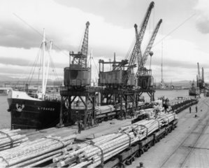 Grangemouth docks  Scotland  1938.
