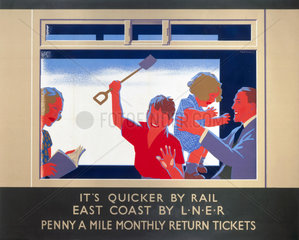 'It is Quicker by Rail - East Coast by LNER'  LNER poster  c 1930.