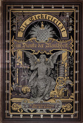 Cover to 'Electricity in the service of mankind'  1885.