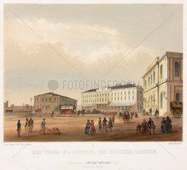 A railway station in Vienna  Austria  19th century.