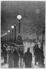 Jablochkoff Candles on the Victoria Embankment  December 1878.