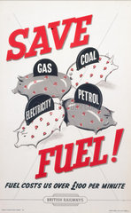'Save Fuel! Fuel Costs Us over £100 per Minute'  BR staff poster  1956.
