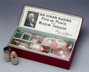 Sir Hiram Maxim's 'Pipe of Peace' bronchial inhaler  1909-1910.