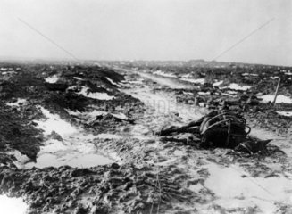 A dead horse on a mud track  France  11 January 1918.