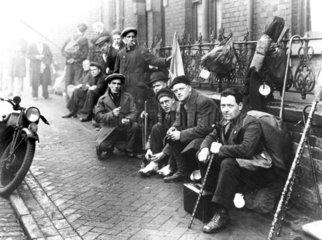 Lancashire hunger marchers resting  1932. '