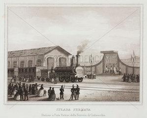 The railway station at Porta Portese on the Civitavecchi railway  Italy  c 1859.