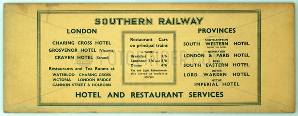 Southern Railway Hotel and Restaurant Services  c 1920s.