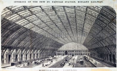 'Interior of the New St Pancras Station  Midland Railway'  London  1869.