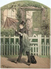 A man in a top hat and suit opening an umbrella outside a cottage  19th century.