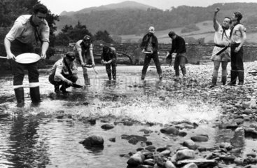 Scouts panning for gold in Wales  January 1967.