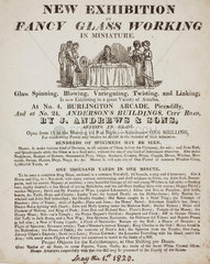 'New Exhibition of Fancy Glass Working in Miniature'  1 May 1820.