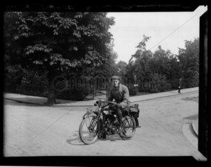 'Francis Norris Adams On Motorbike'  c 1910.