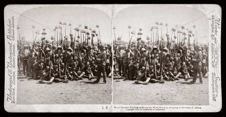 'Royal Munster Fusiliers going to the front  South Africa'  1900.